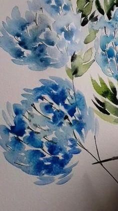 Floral Watercolor, Art Floral, Watercolor Flowers Tutorial, Easy Watercolor, Watercolour Tutorials, Watercolor Painting Techniques, Watercolor Paintings, Watercolor Projects, Silk Painting