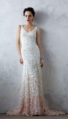 V-neck wedding dress #elegant