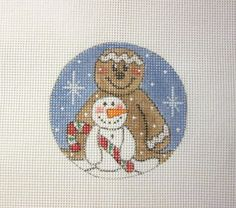 $14.95 Snow Kid and Ginger w/Candy Christmas Ornament Handpainted Needlepoint Canvas