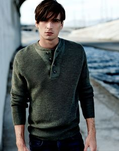 The New Leading Men | Introducing the J BRAND Men's Collection: Robbins Sweater in Military Green.