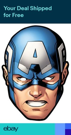 Official Captain America Marvel The Avengers Card Party Face Masks Mask S Rogers Captain America Maske, Captain America Party, Captain America Birthday, Marvel Captain America, Captain America Face Paint, Avenger Party, Avenger Cake, Avengers Party Decorations, Party Face Masks