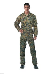Other Mens Clothing 313: Rothco Flightsuit Woodland Digital Camo Air Force Style Suit 2910 -> BUY IT NOW ONLY: $42.99 on eBay!