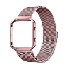 UMTELE Accessories Band Small Rugged Metal Frame Housing with Magnet Lock Milanese Loop Stainless Steel Bracelet Strap Band for Fitbit Blaze Smart Fitness Watch - Rose Gold