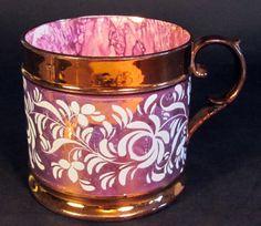 English Sunderland pink copper lusterware mug 1840's
