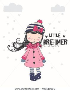 Cute Girl illustration.For apparel or other uses,in vector.