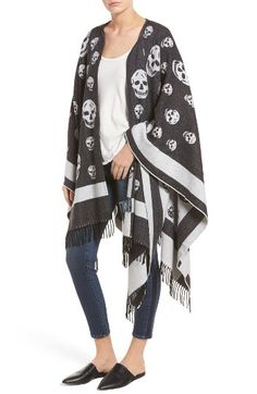 Alexander McQueen Alexander McQueen 'Big Skull' Wool & Cashmere Jacquard Poncho available at #Nordstrom