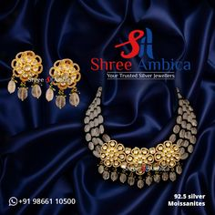 Get your hands on this outstanding piece of necklace set made using Polkis, Moissanites and 92.5 silver, resonating unsurpassed elegance, from Shree Ambica - Your Trusted Jewellers. Pick this for the upcoming festive/wedding season. Readily available in stock For Price and Details Message on - +919866110500 #ShreeAmbica #TrustedJewellers #SilverJewellery #kundannecklace #jadaujewellery #polkijewellery #indianbride #indianwedding #jewelryaddict #handcraftedjewellery #finejewellery… Silver Jewellery, Fine Jewelry, Wedding Sutra, Jewellery Designs, Wedding Season, Necklace Set, Handcrafted Jewelry, Festive, Hands