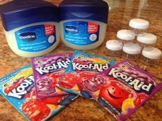 How to make DIY Kool-Aid lip gloss! Take a peek at our instructions on how to make Kool-Aid Lip Gloss. It's seriously super simple and only takes between minutes to make! Kids Spa Party, Spa Birthday Parties, Slumber Parties, Pamper Party, Slumber Party Crafts, Bachelorette Parties, Slumber Party Activities, Diy 5 Year Old Birthday Party, Crafts For Birthday Parties