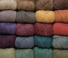 I am absolutely in love with these tweed yarns. The colors are fun, tasteful, and classic. 55% Merino wool, 25% Superfine alpaca, 20% Donegal tweed. Only $5 for a 50 g ball, aka 123 yards.