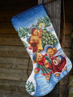 le mie piccole croci: Victorian Teddy Bears Christmas Stocking (Dimensions #8753)