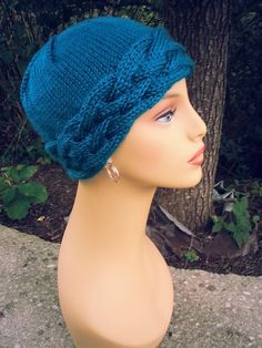 Knit Cabled Chemo Cap