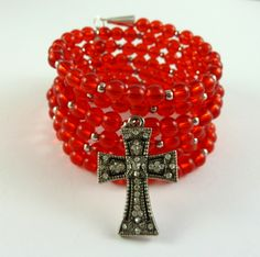 Check out this!!   The Gypsy Road Red with Cross Wrap Bracelet $25.00 #thecraftstar #handmade