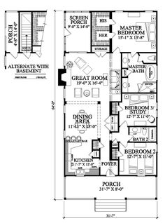 Southern Style House Plan - 3 Beds 2 Baths 1643 Sq/Ft Plan #137-271 Floor Plan - Other Floor Plan - Houseplans.com; flip and remove middle br; mud instead of back porch