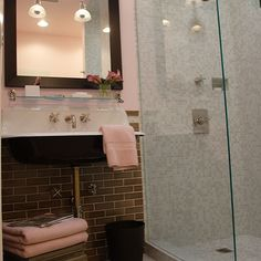 Breathing Room Design - bathrooms - pink, walls, Kohler, sink, gray, glass, subway tiles, backsplash, taupe, Asian, stool pink, towels, seamless glass shower, gray, mosaic, tiles, shower surround, pink and gray bathroom, gray and pink bathroom,