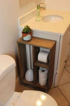 A shelf like this is a great way to store things discreetly, and it adds a decorative element to the bathroom. Photo: Pinterest Photo: Pinterest