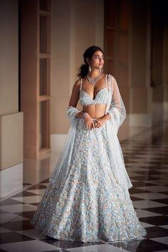 Indian Bridal Outfits, Indian Dresses, Blue Lehenga, Indian Princess, Saree Models, Indian Designer Wear, Indian Fashion, Wedding Dresses, Wedding Outfits