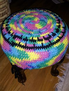 Footstool cover, Sugar & Cream cotton