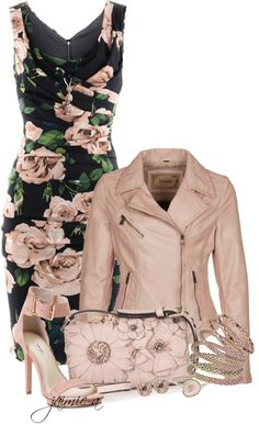 """Floral Dress & Leather Jacket"" by jaimie-a on Polyvore"