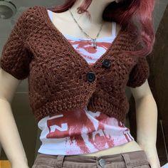 Crochet Mushroom, Grunge Goth, Crochet Cardigan, Pretty And Cute, Muslim Fashion, Look Cool, F1, Layering, Catalog