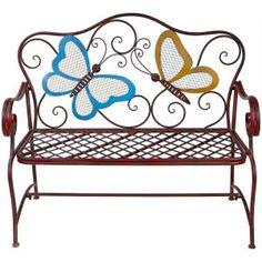 In Metal Garden Benches, Outdoor Garden Bench, Patio Bench, Wood Patio, Indoor Garden, Outdoor Gardens, Outdoor Decor, Outdoor Furniture, Playhouse Outdoor