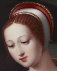 Portrait of a lady called Lady Jane Grey (detail) by Henry Pierce Bone.  The miniature was purchased by Prince Albert in 1844 to add to the couple's growing collection of portraits of sixteenth-century figures. It is still part of the Royal Collection.