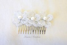 Beaded Flower Hair comb white wedding hair by LaurenHCreations, $25.00
