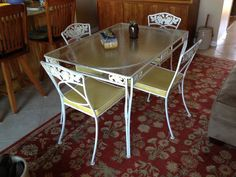 Vtg Mid Century Wrought Iron Floral Patio Dining Set Table 4 Chairs Los Angeles #MidCenturyModern #Woodard