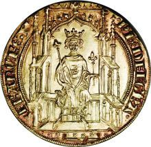 Philippe VI de Valois gold Double Royal d'or ND (1328-50), 1st emission, April 6, 1340, King on Gothic throne with scepter and fleur de lis/Floriated cross in quadrilobe  An extremely rare type, seldom offered