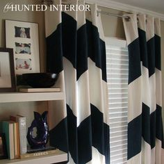 the HUNTED INTERIOR: Hot Trend of Chevron - would this be a good drape option as we cannot seem to find one's we like for cheap (and that are long enough) Chevron Curtains, Painted Curtains, Diy Curtains, Paint Chevron, Navy Chevron, Eclectic Decor, Living Room Inspiration, My New Room, Fun Projects