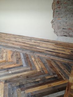 """new-crop: """" Newly finished pallet wood floor in the downtown loft of some friends. """""""