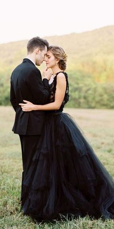 33 Beautiful Black Wedding Dresses That Will Strike Your Fancy ❤ black wedding dresses a line lace top tulle skirt country clairelafaye ❤ #weddingdresses Fancy Wedding Dresses, Wedding Dress Shopping, Princess Wedding Dresses, Boho Wedding Dress, Wedding Dress Styles, Boho Dress, Wedding Gowns, Lace Dress, Wedding Bride