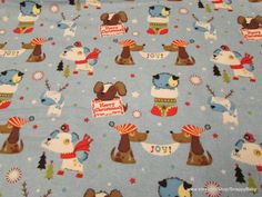 Christmas Flannel Fabric  Xmas Puppies on Blue  1 by SnappyBaby