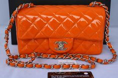 Chanel 2014 Mini Classic CC Logo Quilted Leather Patent Single Flap Handbag Small Orange Cross Body Bag Chain