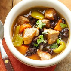 Our Pork and Black Bean Soup is a healthy way to end your day! Find more slow cooker recipes here: http://www.bhg.com/recipes/slow-cooker/soup-chili/hearty-slow-cooker-soups-stews/?socsrc=bhgpin091414porkandblackbeansoup&page=6