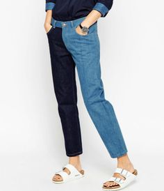 Different leg colored mom jeans