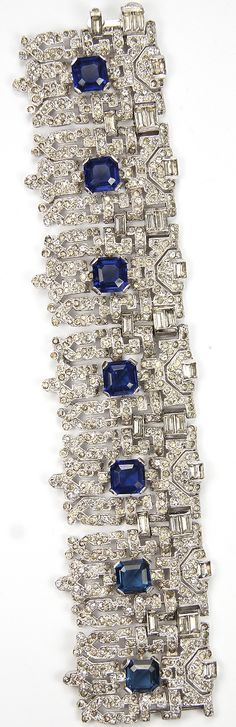 1930s KTF Trifari 'Alfred Philippe' Pave and Baguettes Seven Shields with Sapphires  Jewels of India Wide Deco Link Bracelet.