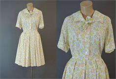 1960s Dress Floral Shirtwaist 38 bust Full by dandelionvintage