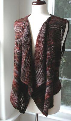 PDF knitting pattern Casual Vest Drape Front by SuzanneSullivan, $4.75