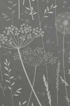 meadow charcoal wallpaper by hannah nunn