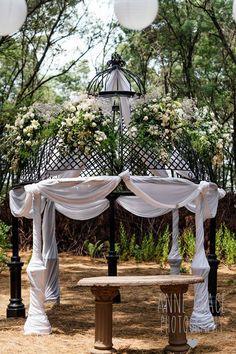 Botanical Wedding, Floral Wedding, Wedding Flowers, Flower Decorations, Wedding Decorations, Gazebo Roof, White Weddings, Gypsophila, Reception Areas