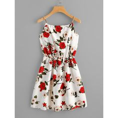 SheIn(sheinside) Floral Print Random Self Tie Cami Dress (35 RON) ❤ liked on Polyvore featuring dresses, multicolor, floral dresses, flower printed dress, floral pattern dress, floral day dress and flower design dresses