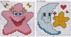 schema punto croce stellina luna | Hobby lavori femminili - ricamo - uncinetto - maglia