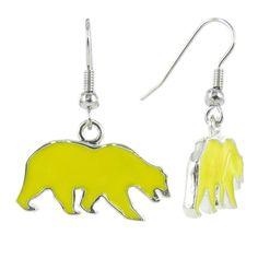Yellow Cal Bears Fish Hook Earrings