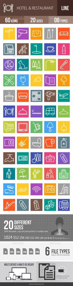 Hotel & Restaurant Line Multicolor Icons