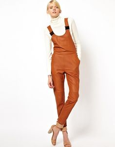 Brown ASOSWHITE Dungarees in Leather Overalls $165 @ ASOS