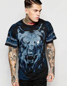 Imagen 1 de Camiseta con cuello redondo y estampado de lobo en toda la prenda en negro T-Wallace-C de Diesel