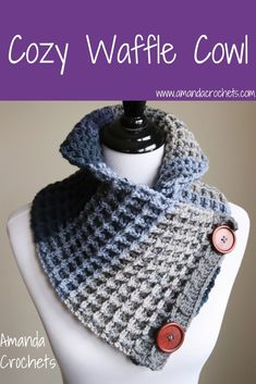 Hey everyone! Today I have another pattern for you! This is my cozy waffle cowl. This cowl works up quickly and is sure to keep you toasty warm. I paired this cozy waffle cowl with some buttons for… Crochet Waffle Stitch, Poncho Au Crochet, Crochet Cozy, Crochet Scarves, Crochet For Kids, Free Crochet, Knitted Cowls, Shawl Patterns, Crochet Patterns