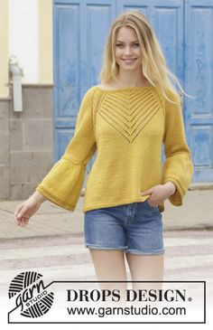 Hello Yellow - Jumper with cables, lace pattern, raglan and A-shape, knitted top down. Size: S - XXXL Piece is knitted in DROPS Cotton Merino. - Free pattern by DROPS Design Jumper Patterns, Knitting Patterns Free, Free Knitting, Crochet Patterns, Drops Patterns, Free Pattern, Jumpers For Women, Sweaters For Women, Drops Design