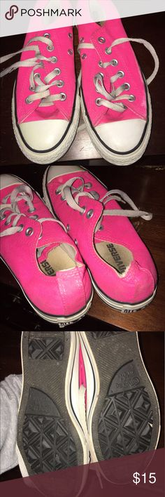 Hot Pink Converse Worn converse but will clean before shipping! Converse Shoes Sneakers