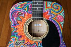 Psychedelic Hand Painted Guitar by jennylisa on Etsy